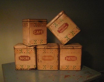 French Roses Toleware Canisters