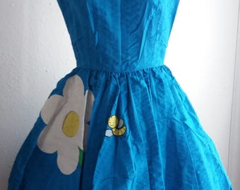 Vintage Nita Smith Square Dancing Dress Blue with Yellow/Green Flowers and a BEE Rockabilly Western Swing