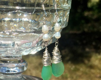 Chrysoprase and pearl sterling silver briolette green earrings