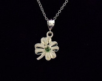 Good luck clover necklace with Maine green Tourmaline, sterling silver, Shemrock pendant with Green Tourmaline.