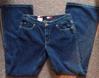 Vintage Tommy Hilfiger Women's Mom Jeans Size 7 High Waisted Dark Denim