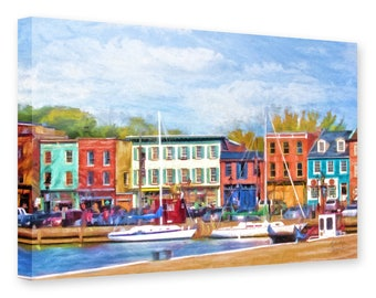 Fell's Point, Baltimore, Historic Waterfront, Sailboats, Thames Street, Maryland, Cat's Eye Pub, Historic Buildings, Ready to Hang Canvas