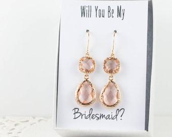 Long Blush Gold Teardrop Earrings, Gold Peach Earrings, Champagne Gold Earrings, Bridesmaid Jewelry, Peach Wedding Jewelry