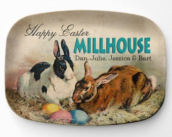 Melamine Easter Platter, Personalized Easter Bunny Serving Platter, Melamine Platter, Personalized Easter Serving Tray