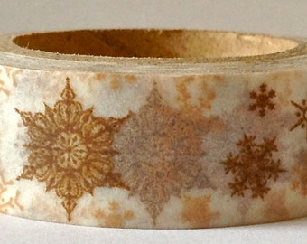 SALE Christmas Washi Tape, Snow Flakes in Sepia 15mm x 10 meters.