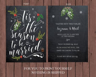 christmas wedding invitation, chalkboard wedding invitation, Printable wedding invitation, winter wedding invitation, YOU PRINT
