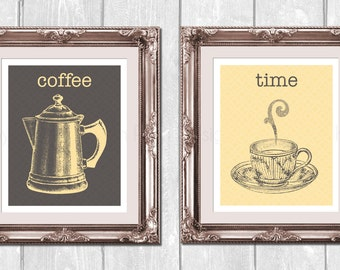 Vintage Coffee Pot and Cup 2pc. Set Designer Original 8 x 10 Art Prints Set - Yellow Gray - Frame It Yourself