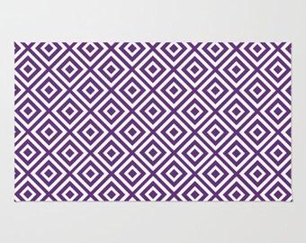 Geometric Area Rug, Purple area rug, Modern Geometric area rug, purple decor, purple rug, diamond pattern rug, geometric decor