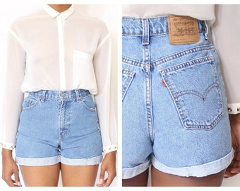 ALL SIZES Cut Off Rolled Up  LEVI'S Vintage  High Waisted Shorts