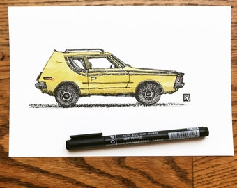Original Pen And Ink Drawing of Vintage AMC Gremlin With Canary Yellow Water Color