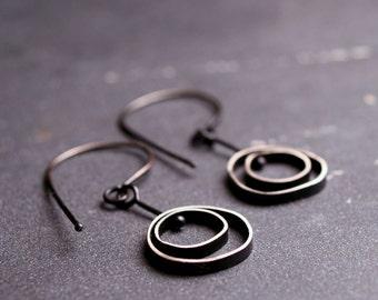 Oxidized sterling silver kinetic dangle earrings  Hanging Orbit