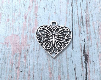 6 Large Heart butterfly charms (1 sided) antique silver tone - silver butterfly pendants, heart charms, spring charms, heart pendants. BX194