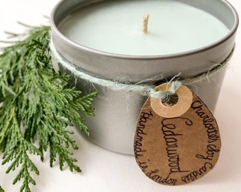 CEDARWOOD Candle Tin - Scented Natural Soy Candle - Gift Ideas - Home Decor - Artisan - Essential Oil - Woody Aroma