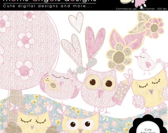 Girl Baby Owl cliparts - COMMERCIAL USE OK