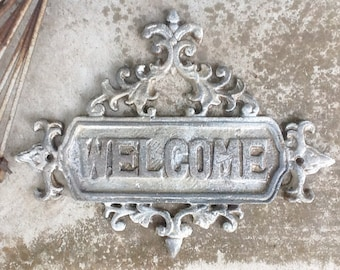 White WELCOME Sign Plaque-Rustic Cast Iron  Old Fashioned-French- Front Door -Metal Wall Decor-Wedding Gift-Nautical-Chippy-Autumn Fall Home