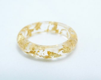 Resin ring with real gold leaf