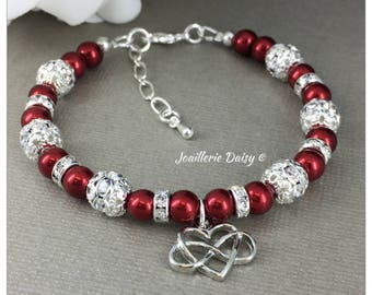 Heart Bracelet Heart Charm Infinity Bracelet Red Bracelet Gift for Her Gift for Mother Gift for Wife Christmas Jewelry Valentines Day Gift