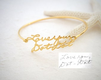 Signature Bangle • Handwriting Bracelet in Sterling Silver • Handwriting Bangle • Handwritten Bangle • Mother Gift • VALENTINES GIFTS • BH05