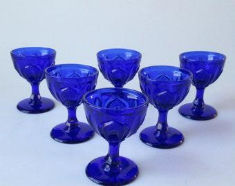 Set of 6 Cobalt Blue Faceted Goblets
