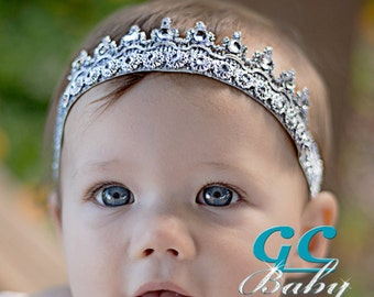 Silver or Gold Bling Tiara Stretch Headband - Birthday Accessory, Cake Smash, Photo Prop for Baby, Toddler, Girl, Boy Crown, Accessory