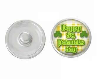 Happy St. Patricks Day Snap - Compatible with Studio66 LLC -  Gingersnaps - Magnolia and Vine - Noosa 18-20mm Base - Handpressed Snaps