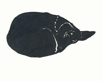 Resting Dachshund, Dachshund Print, Dachshund Art, Dog Art, Animal Print, Wall Art, Original Artwork, Ink and Marker drawing on paper, 1964