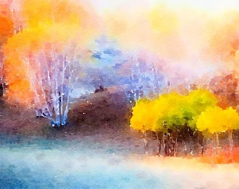 Autumn Forest Original Watercolor Brush Illustration Painting