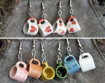 Coffee Mug Earrings, Many color choices