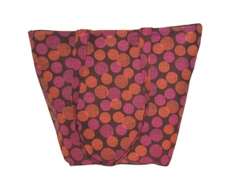 Polka Dot Tote Bag, Brown Fabric Bag, Handmade Handbag, Cloth Purse, Pink Orange Polka Dots, Shoulder Bag