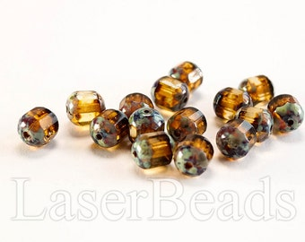 20pc 8mm Faceted beads Picasso topaz beads 8mm Czech glass beads Yellow beads Blue picasso beads Fire polished beads 8mm faceted beads last