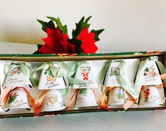 Vintage Christmas Bells In Original Box Lefton Napco Holiday Christmas Ornaments Figurine Japan Midcentury 1950's