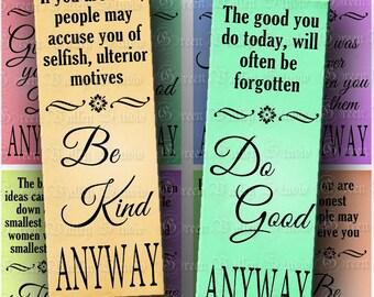 INSTANT DOWNLOAD 4 Digital Images Sheets Motivational Quotes Inspirational Words 1.8 x 5 Inch for Bookmarks (BK10,BK11)