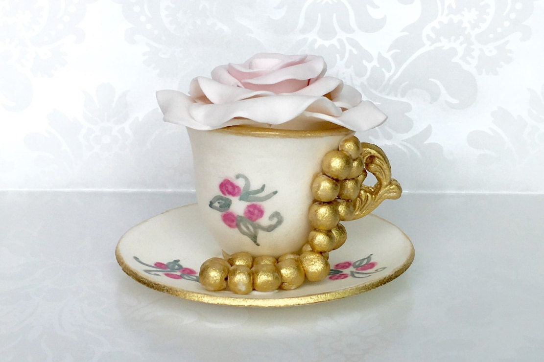 Fondant Teacup and Saucer Cake Topper. Tea party Cake Topper.