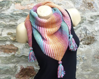 "Handmade women knitted scarf in multicolor ""Sweet Rainbow"" 100% cotton"