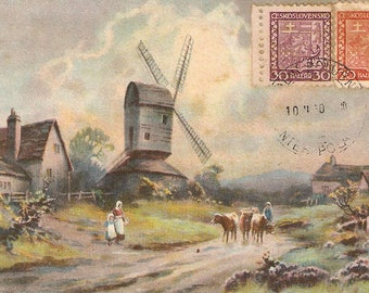 vintage postcard, scenic farm landscape with windmill, cows, people antique postcard, vintage post card