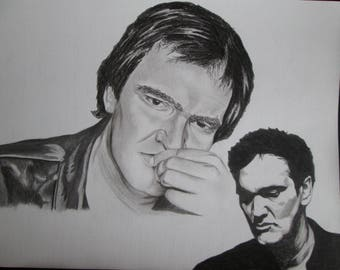Portrait in charcoal of the actor and Director Quentin Tarantino