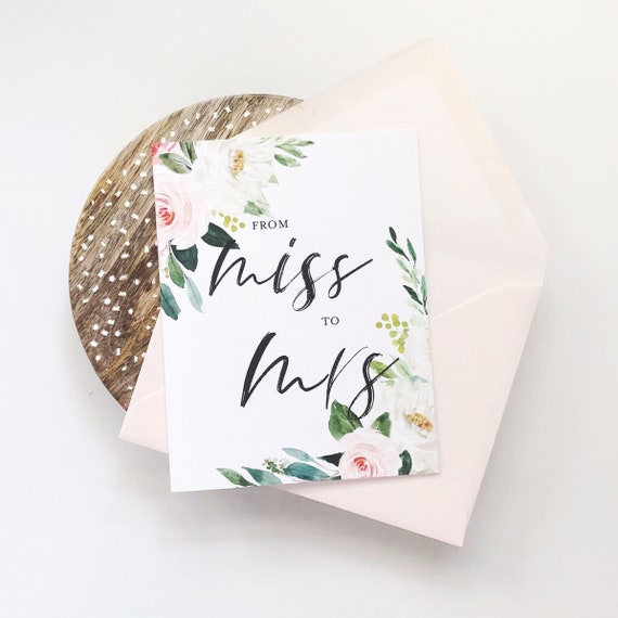 Blush Floral Bridal Shower Card - From Miss to Mrs