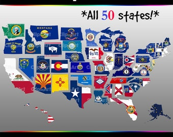 USA Map Clip Art Pack - 50 State Flags, California, Texas, Washington, New York, 50 States, United States, Country, States, City, Geography