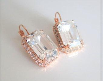 Rustic Wedding earring,Beauty Gift,Crystal Earrings,Swarovski large Octagon Earrings,Rose Gold Earrings,Luxury,Rhinestone Bridal Jewelry