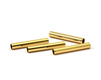 Gold Plated Tube Beads, 12 Gold Plated Brass Tubes (3x20mm) Bs 1440 Q052