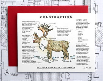 Project Red Nosed Reindeer Construction - Instant Download Printable Art - Construction Series