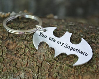 Fathers day keychain, Fathers Day Gift, You are my superhero, Bat Keychain, My Hero, Father's Day, Superhero Keychain, Gift For Him, Daddy