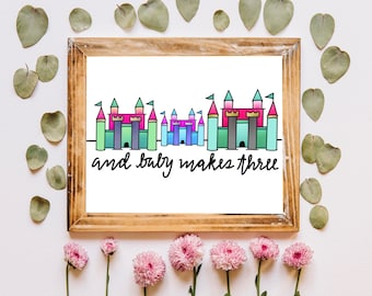 And Baby Makes Three - digital baby announcement art