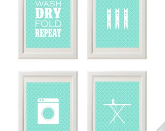 Laundry Room Prints - Wall Art Set of 4 11x14, Custom Laundry Room Art, Wall Art For Laundry Room, Cute Custom Laundry Art