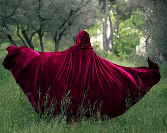 Red Riding Hood stretch Velvet Cape Costume Cape Fairytale Fantasy Cloak in Red ON SALE