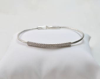 14k white gold Flexible Cable Bangle Bracelet, strings bracelet with diamonds 0.46CT Approx. for her or for him, dainty bracelet