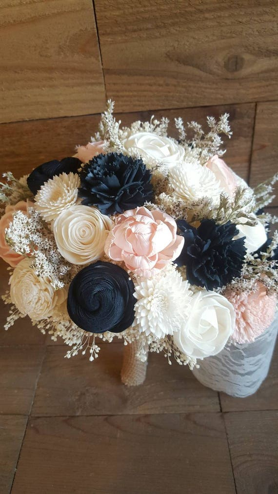 Custom Navy and Blush Sola Wood Flower Bouquet dried Flowers