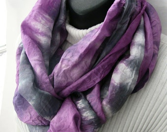 Silk Infinity Scarf for Women- Spring Fashion Circular Cowl Scarf Gift for Her Girlfriend gift scarf Orchid and Gray Scarf Hand dyed scarf