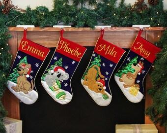 Personalised Traditional Velvet Animal Christmas Stockings