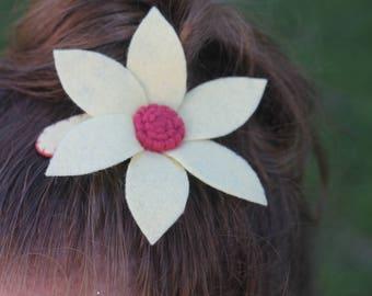 Felt Flower Barrette, Felt Flower Hair Clip, Felt Flower Hair Bow, Girl's Flower Barrette, Felt Flower, Girl's Barrette, Flower Barrette